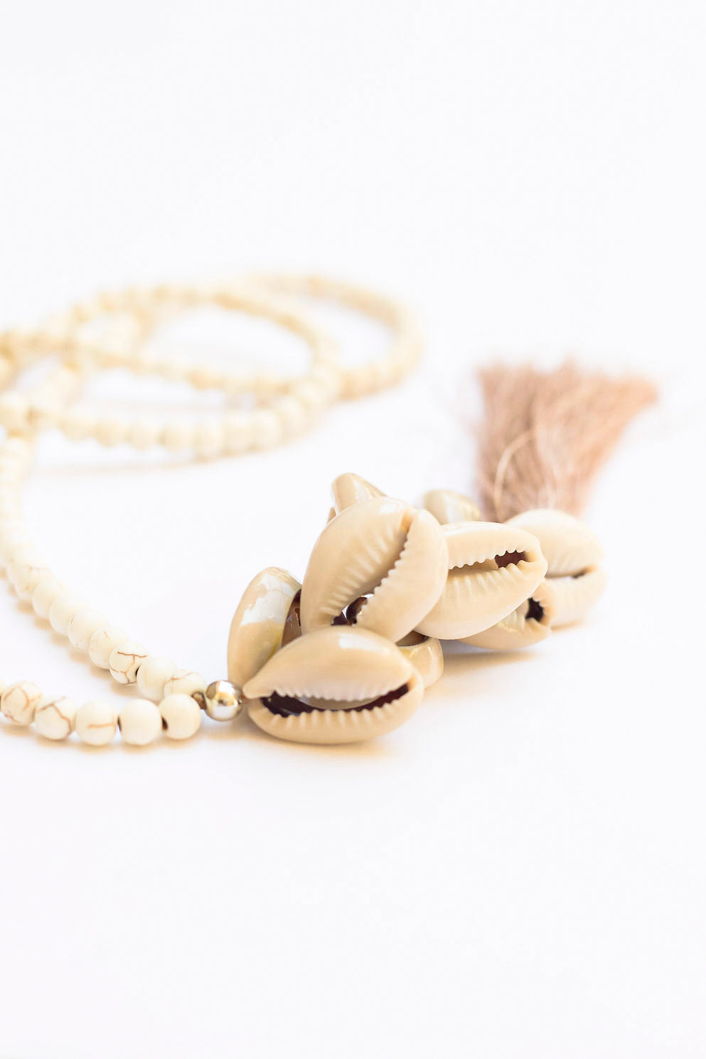 Shells & tassel long Necklace