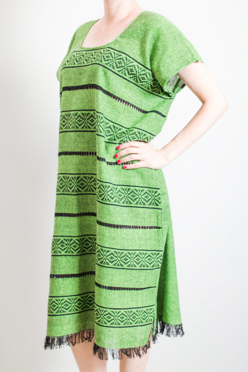 Green tassel dress