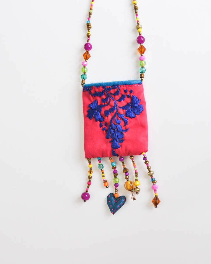 Blue & Fiusha Pouch Necklace