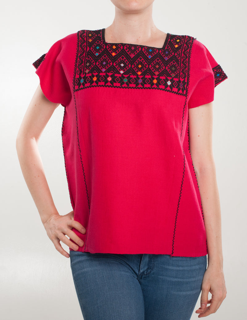 Pink and black San Andres blouse