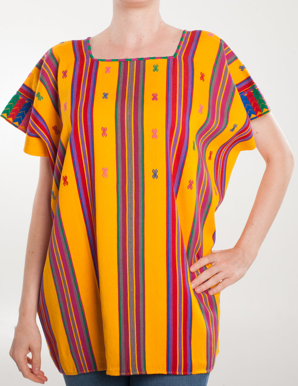 Yellow striped pantelho blouse
