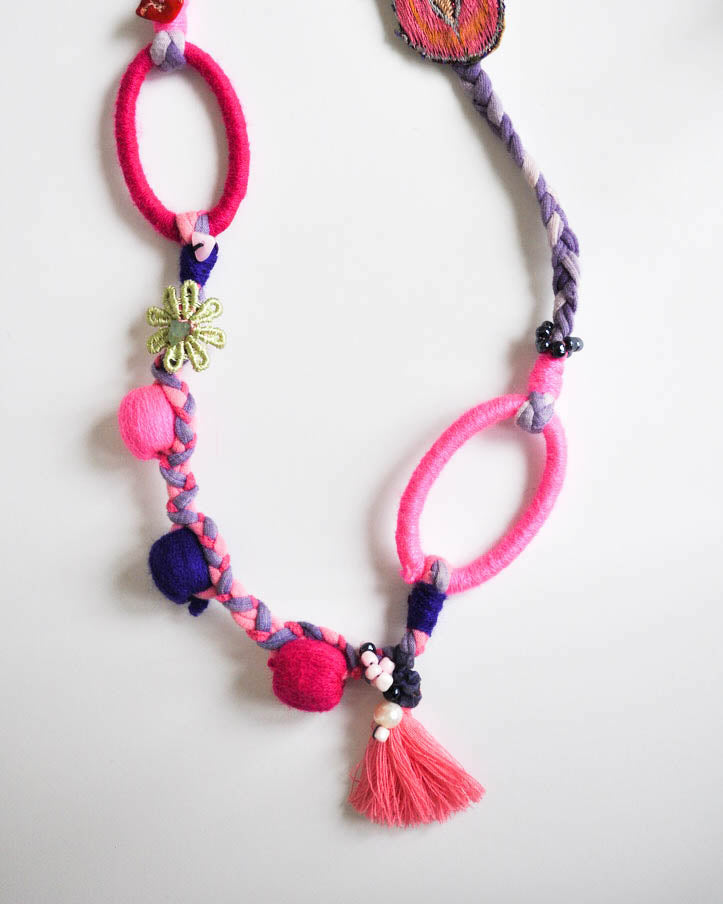 Pink & Purple ovals Necklace