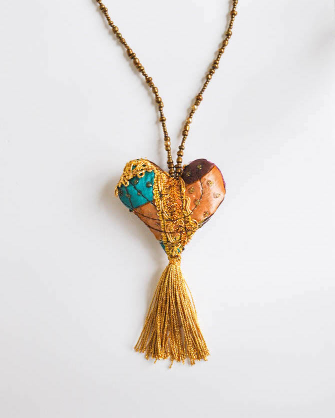 Earth tones & gold heart Necklace