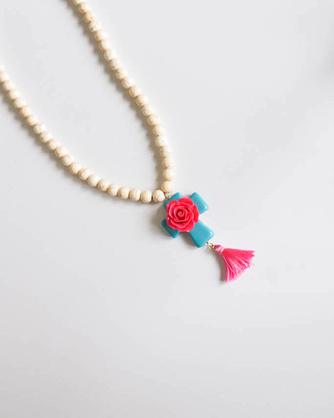 Pink and turquoise Rose cross Necklace