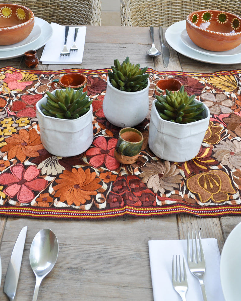 Embroidered brown table runner