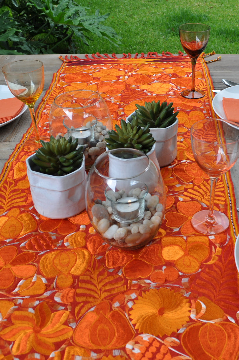 Orange flowers table runner