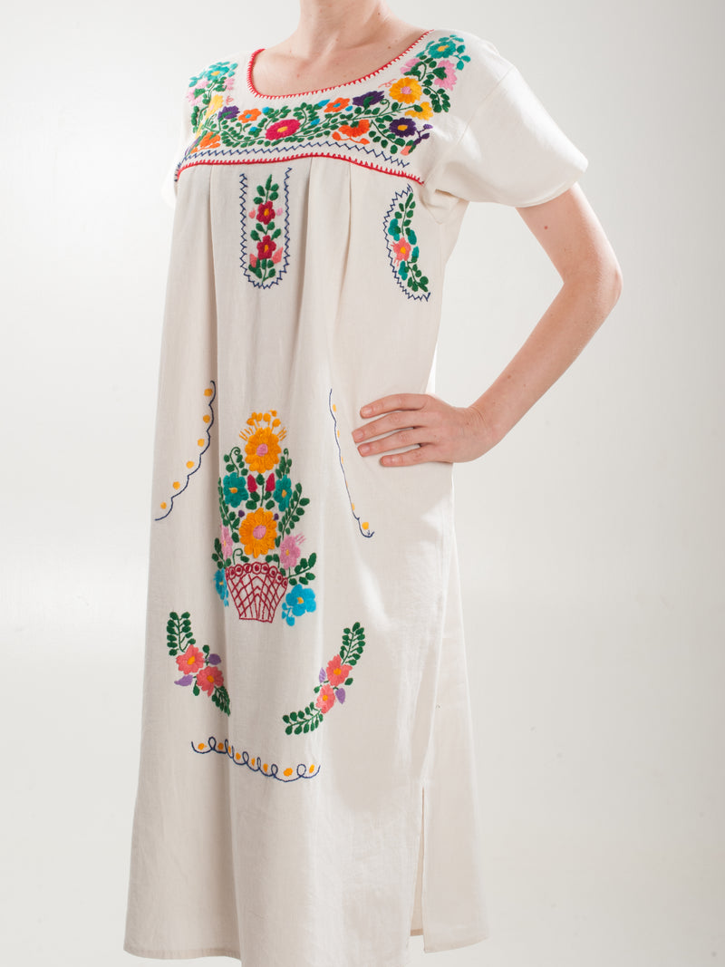 Midi Flower basket embroidered Dress - White