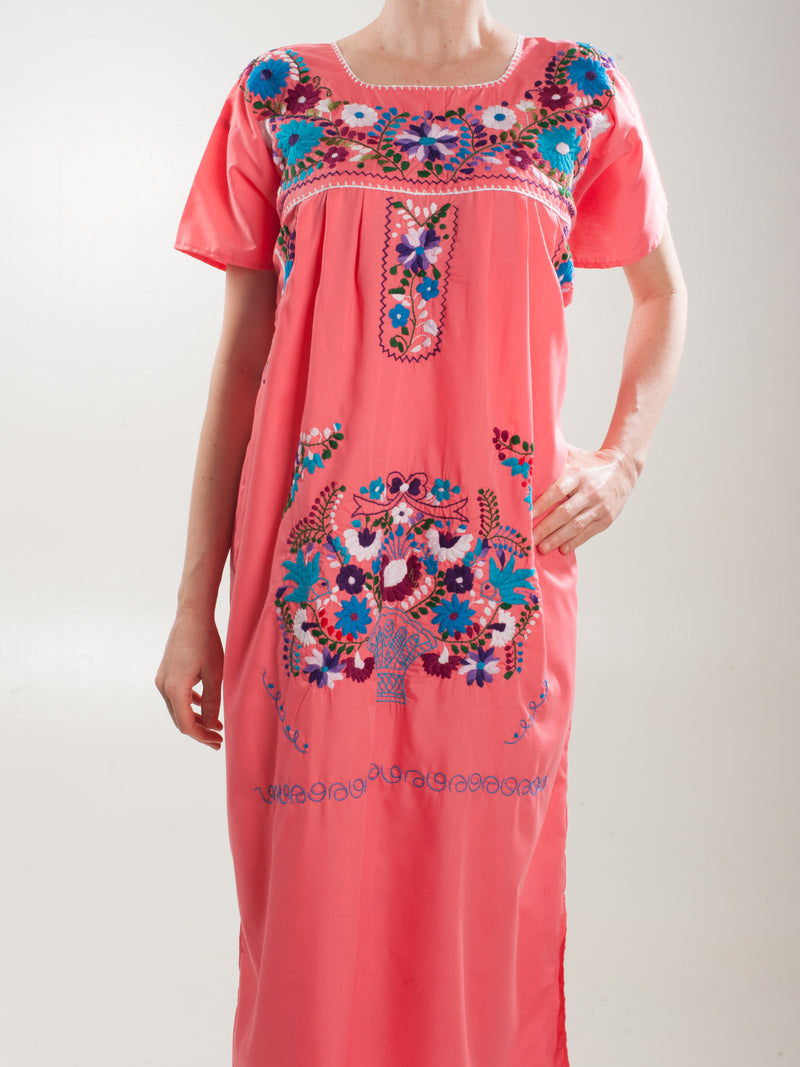 Midi coral embroidered Dress