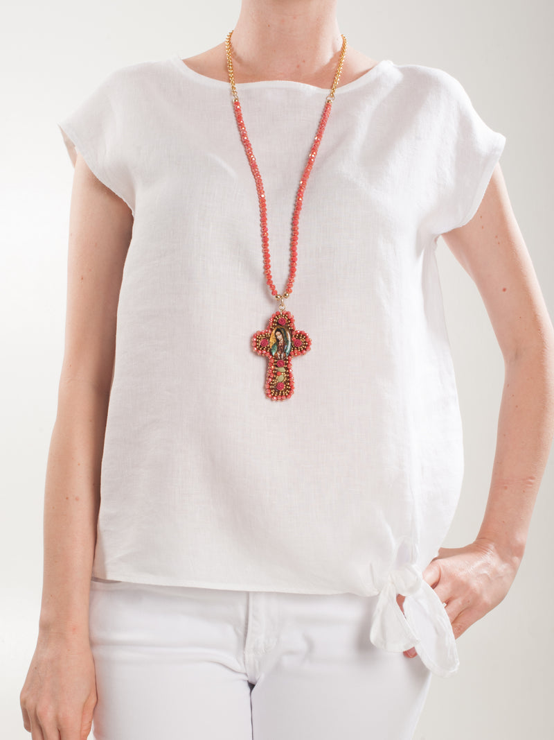 Red beaded cross Necklace