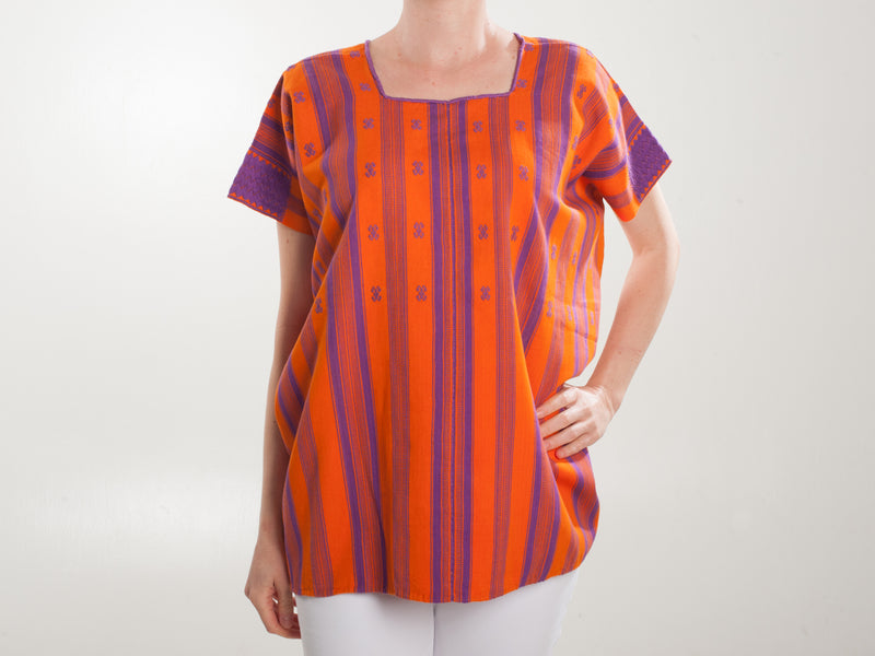 Orange and purple striped pantelho blouse