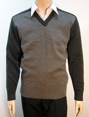 Calcoup Corporate 80/20 Wool/Nylon Fashion Pullover - Charcoal & Grey