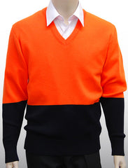 Calcoup Corporate 50/50 Wool/Acrylic OH&S Pullover - Navy/Fluro Orange