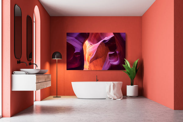 Fine art photograph of antelope canyon hanging in a bathroom