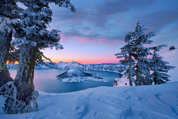 Crater Lake Oregon in the Winter.