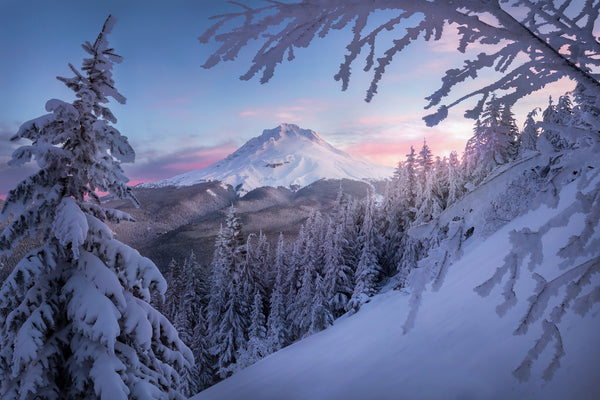 Mount Hood sunrise after snow by Lijah Hanley.
