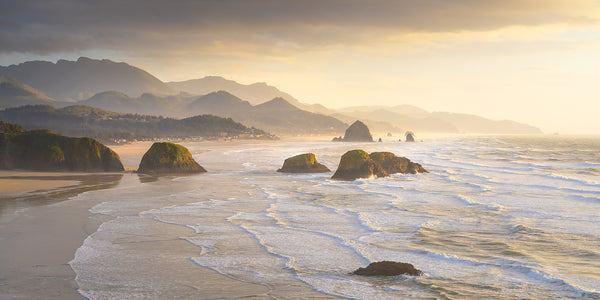 sunset from ecola state park of Cannon Beach Oregon.