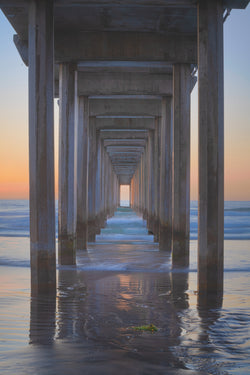 Photographic print for sale of the La Jolla Pier in San Diego at sunset.