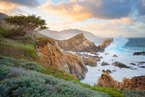 Ocean sunset photography in Big Sur California with large ocean waves.