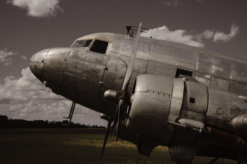 Fine art aviation photograph of a DC-3 or c-47 in sepia.
