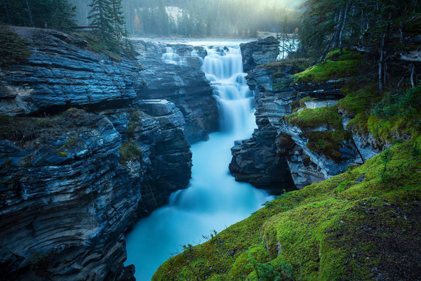Athabasca Falls at sunrise in Jasper, Canada