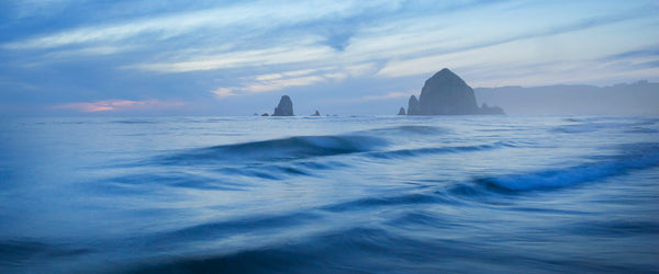 Photograph of waves and fog at Cannon Beach.