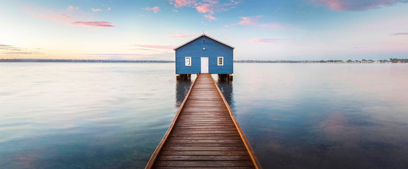 Photograph of Crawleys Boathouse along the Swan River in Perth at Sunrise.