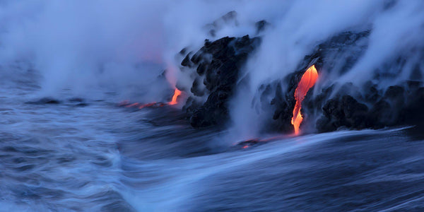 Hawaii Landscape Photography by Lijah Hanley. Kilauea lava pours into the ocean on the Big Island of Hawaii.