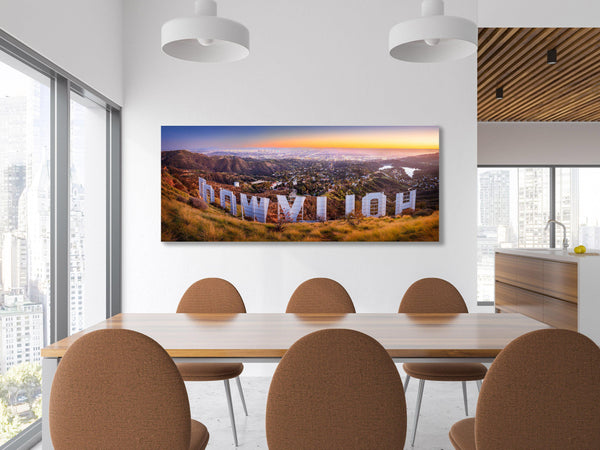 fine art photography of the Hollywood sign and Los Angeles skyline