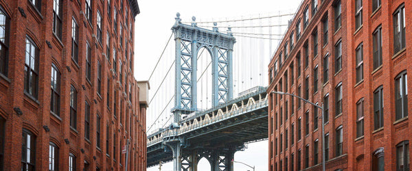 The Manhattan Bridge viewed from the streets of Brooklyn