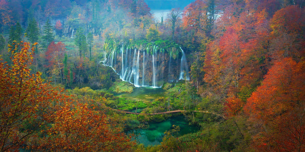 Photograph of waterfalls and fall color in Plitvice National Park, Croatia.