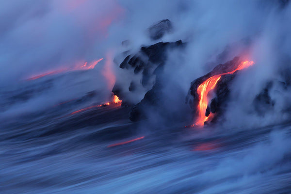 The lava ocean entry on the big island of Hawaii. By Lijah Hanley.