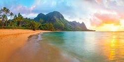 Photography of Ke'e beach in Kauai at sunset.