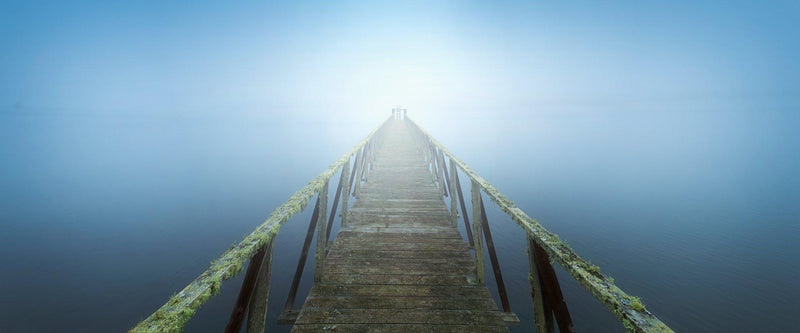 Pier going into fog on the California coast.