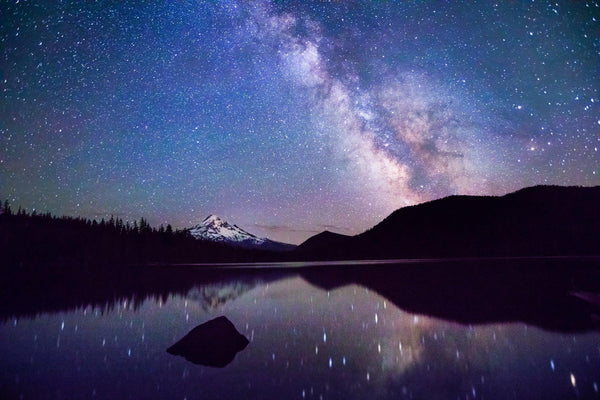 The Milky Way reflects below Mt. Hood