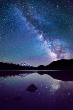 Lost Lake reflects the Milky Way in Oregon