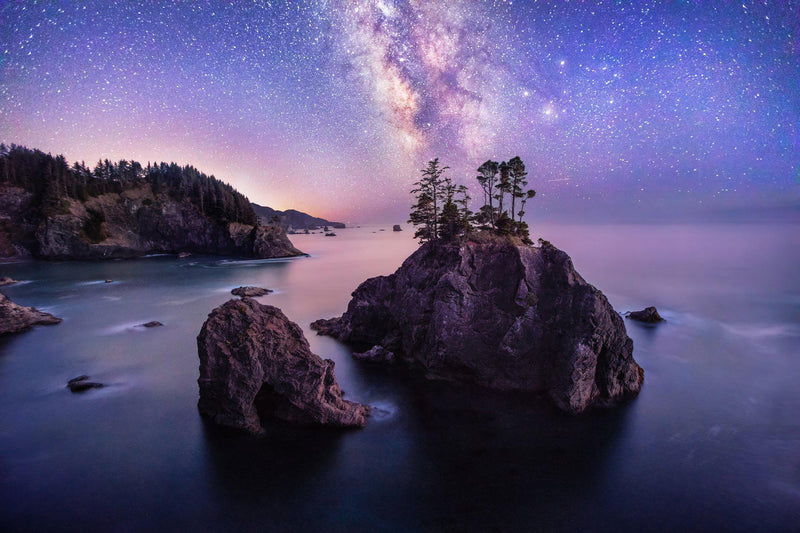 Sea cliffs and seastacks under the Milky Way on the Southern Oregon coast. By Lijah Hanley.