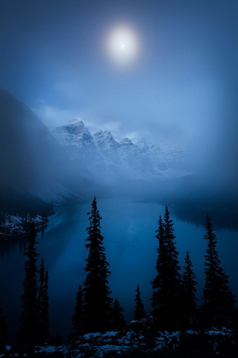 Maraine Lake lit by moonlight