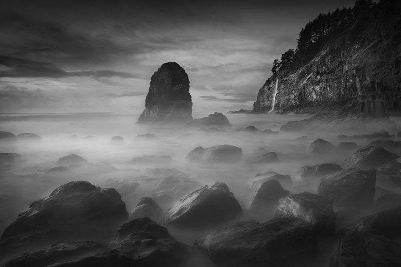 A long exposure photograph of Cape Meares in Oregon. By Lijah Hanley.
