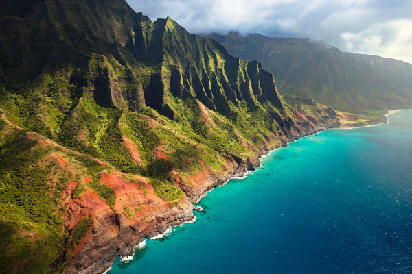 The Napali Coast viewed from a helicopter