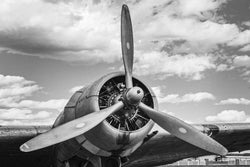 Fine art aviation photgoraphy of a dc-3 or c-47 propeller. propeller