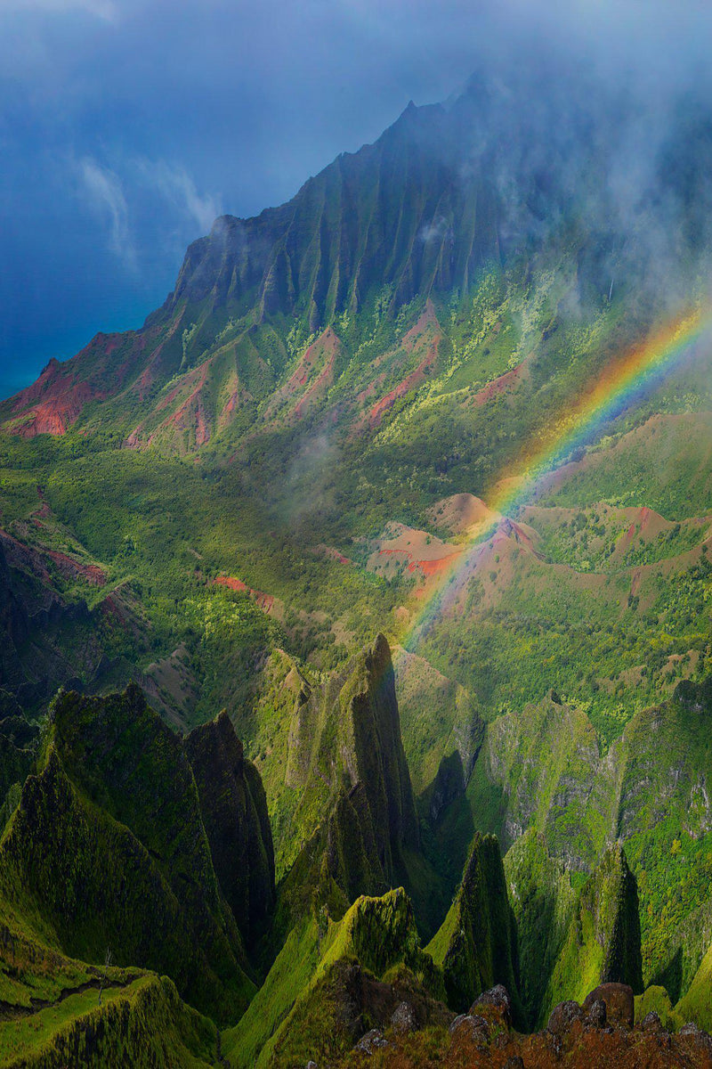 The Napali Coast with a rainbow on Kauai