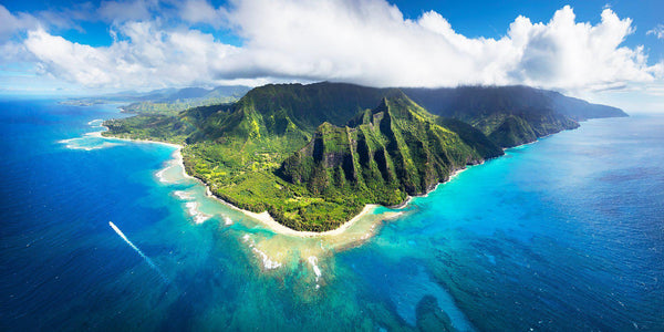 Kauai Hawaii Landscape Photography. The Napali coastline viewed from a helicopter.