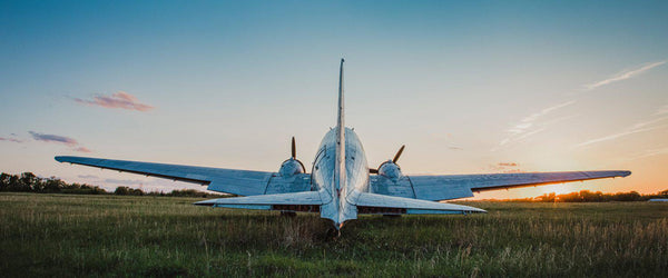Fine art aviation photography of a DC-3 or C-47 at sunset.