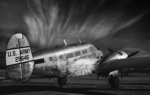 Vintage plane in the tucson boneyard. Fine Art Aviation photography.