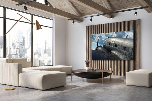 Fine art aviation photography.  Chromaluxe metal print hanging in industrial interior design.