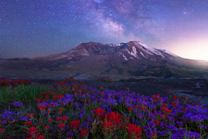 Mount Saint Helens under the stars