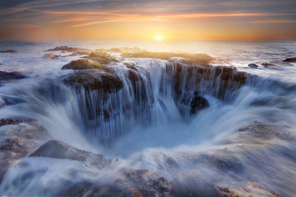 Thors well on the Oregon Coast at sunset. By Lijah Hanley.