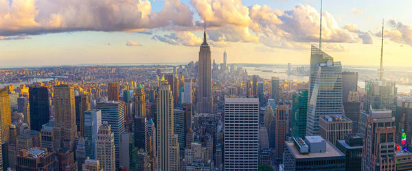 Photograph of the New York skyline and the Empire State building as seen from the Top of the Rock.
