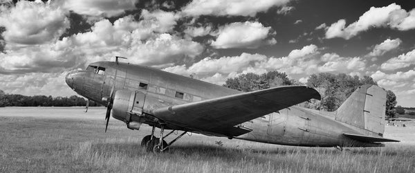 Fine art aviation photography of a DC-3 in black and white.