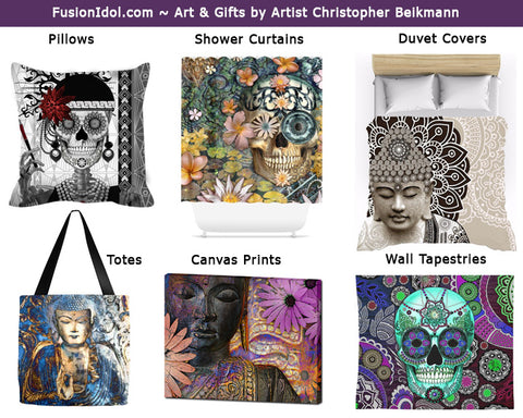Buddha, Sugar Skull and Floral Art gifts and accessories by New Mexico artist Christopher Beikmann